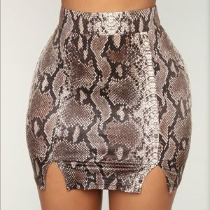 Fashion nova snake skin mini skirt set